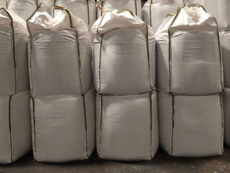 Chemical fertilizer urea Stockpile jumbo-bag in the warehouse waiting for shipment