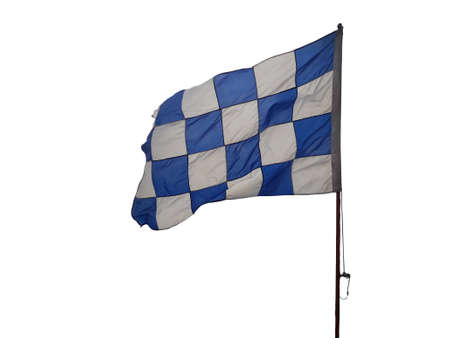 Blue and white checkered flag embroidered on a white background Archivio Fotografico