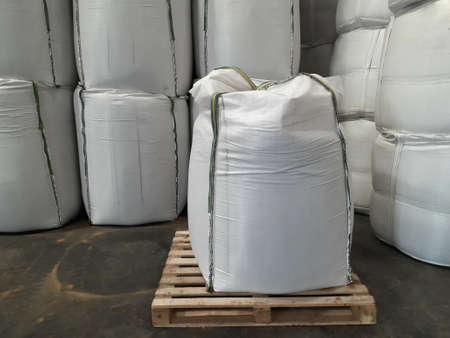 Chemical fertilizer Urea Stockpile jumbo-bag in the warehouse waiting for shipment.