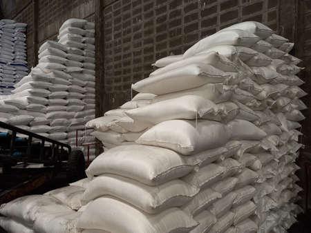 Stock pile Chemical fertilizer jumbo-bag in warehouse waiting for shipment Stok Fotoğraf