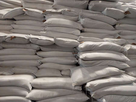Chemical fertilizer The product stock is packed in sacks, stacked in the warehouse, waiting for delivery. Stok Fotoğraf