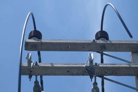 Wiring equipment, ceramic insulators, wires, electric panel Board high voltage transformer Stok Fotoğraf