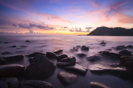 sunset and sea wave in Koh Kood , Thailand photo