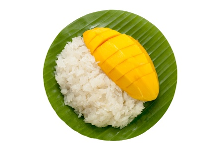 dessert sweet sticky rice with mango coconut milk photo