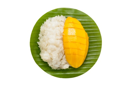 Dessert süße Klebreis mit Mango-Kokos-Milch Lizenzfreie Bilder