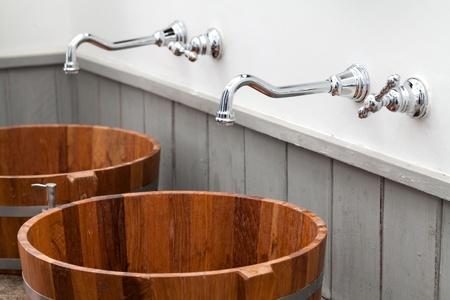wood bowl hand wash basin Stock Photo - 22275052