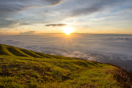 wasatch: Beautiful mountain sunrise scenery in Thailand Stock Photo