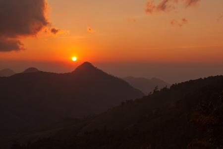 Beautiful mountain scenery sunset in Nan,Thailand photo