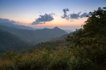 Beautiful mountain scenery sunset in Nan,Thailand photo
