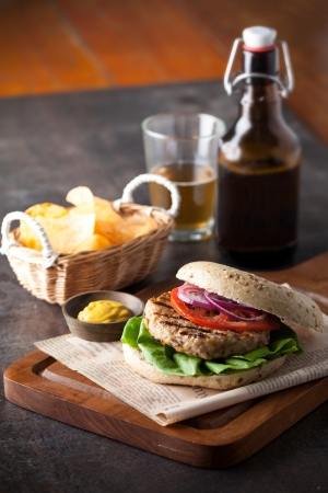 hamburger with beer photo