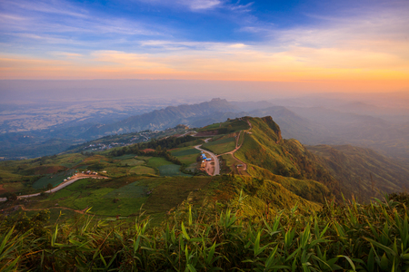 Beautiful mountain scenery sunset in Phu Phang Mah,Thailand photo