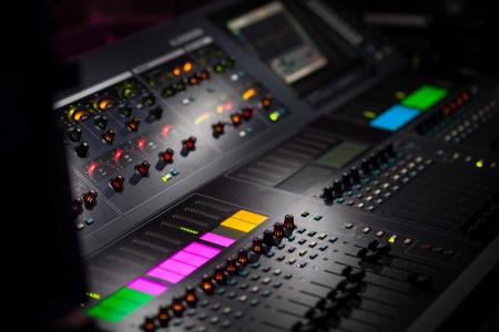 Sound mixer control panel  Foto de archivo