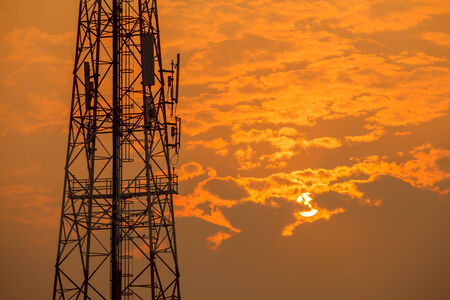wireless technology: Communication tower during sunset