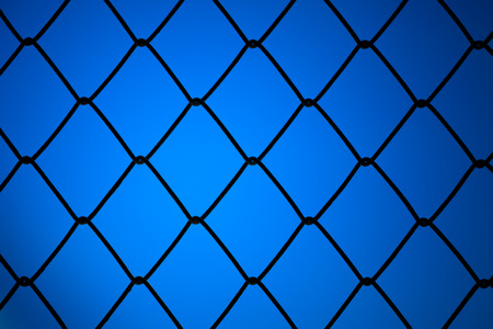 metallic net with blue background photo