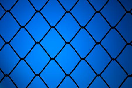 metallic net with blue background photo