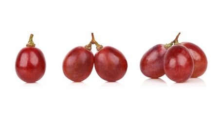 purple red grapes: red grape isolated on white background Stock Photo