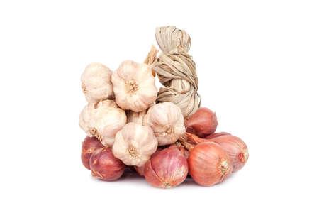 shallot: Shallot onions and garlic  Stock Photo