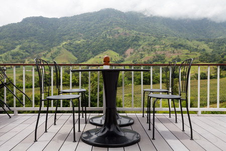 Beautiful terrace lounge with mountain view  photo