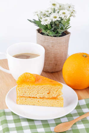 orange cake: orange cake with coffee Stock Photo