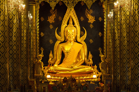 Phra Buddha Chinnarat at Phra Si Rattana Mahathat Temple ,Phitsanulok Province in Thailand.