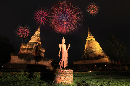 Fireworks in Loy Krathong festival at Sukhothai History Park photo
