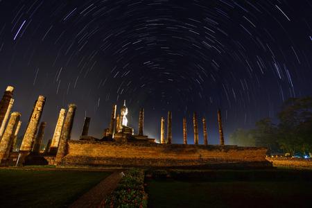The Stars night of startails with Sukhothai Historical Park photo