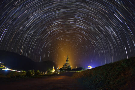 The Stars night of startails over Phasornkaew Temple ,That place for meditation that practices at Khao Kho Phetchabun Thailand. photo