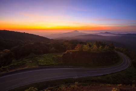 Doi Inthanon National Park in the sunrise at Chiang Mai, Thailand photo