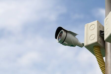 deterrent: CCTV or security camera Stock Photo