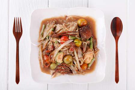 Somtum, papaya salad delicious food in thailand photo