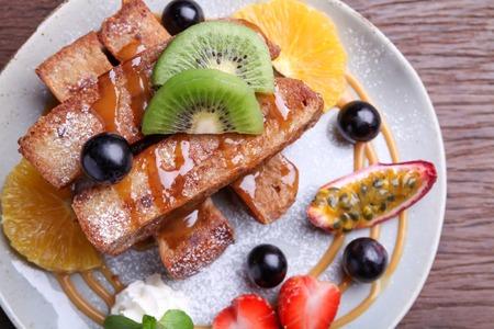 French toast with fresh fruit,closeup photo