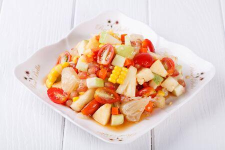 somtum: Somtum, fruit salad food in thailand