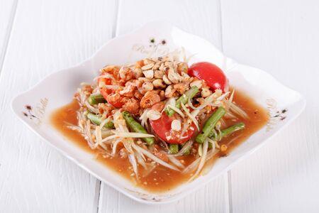 somtum: Somtum (tum thai), papaya salad delicious food in thailand Stock Photo