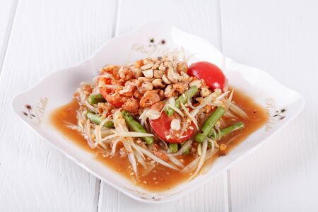 Somtum (tum thai), papaya salad delicious food in thailand Stock Photo