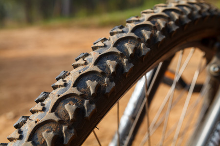 off road biking: Detail of a Mountain Bike Tire,Selective focus