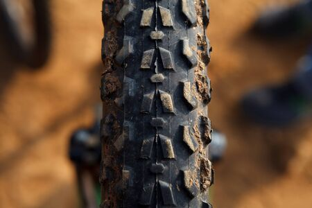 shocks: Detail of a Mountain Bike Tire,Selective focus
