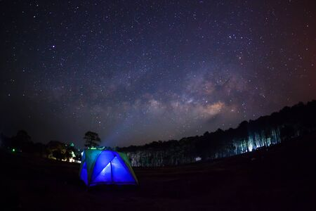 vulpecula: Silhouette of Tree with tent and Milky Way Phu Hin Rong Kla National ParkPhitsanulok Thailand Stock Photo