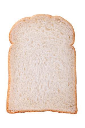 slice of white bread against the white background Foto de archivo