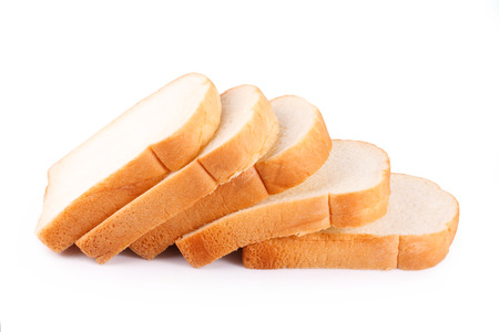 slices of bread: slice of bread on white background