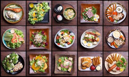 ensalada de frutas: Incluyendo alimentos saludables ensaladas conjunto. ensalada de frutas, tocino de jamón, salmón, ensalada César, ensalada de atún, pescado y patatas fritas, pierna de pollo, salchicha ahumada
