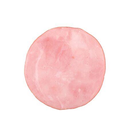 raw ham: Sliced smoked ham isolated on white background