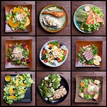 ensalada de frutas: Incluyendo alimentos saludables ensaladas conjunto. ensalada de frutas, tocino de jamón, salmón, ensalada César, ensalada de atún Foto de archivo