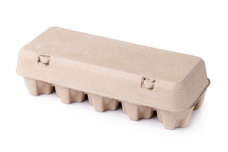 egg carton: eggs in an egg carton on a white background