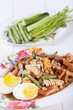somtum: Somtum, Mix papaya salad delicious food in thailand Stock Photo