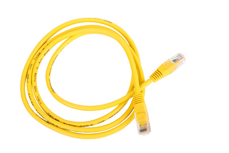 cat5: Yellow Network Cable with molded RJ45 plug isolated on white background