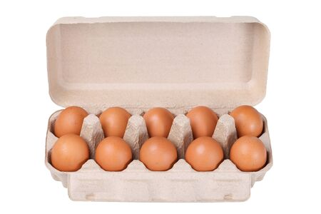 chicken and egg: Ten brown eggs in a carton package