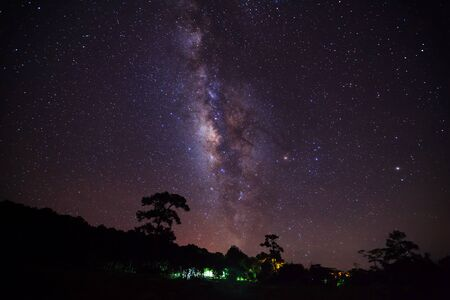 vulpecula: Silhouette of Tree and Milky Way with cloud, Long exposure photograph