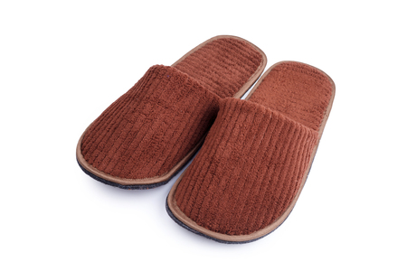 insoles: Brown wool slipper isolated on white background