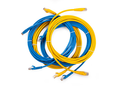 rj45: Yellow and Blue Network Cable with molded RJ45 plug