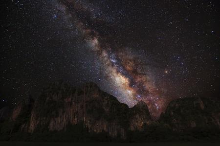 vulpecula: ilky Way galaxy, Long exposure photograph, with grain Stock Photo